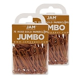JAM Paper® Colored Jumbo Paper Clips, Large 2 Inch, Rose Gold Paperclips, 2 Packs of 75 (21832059a)