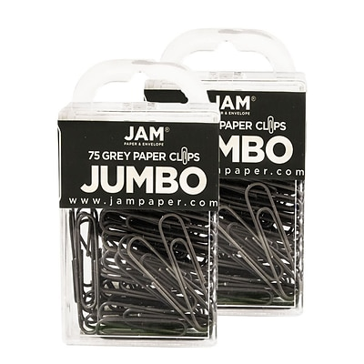 JAM Paper® Colored Jumbo Paper Clips, Large 2 Inch, Grey Paperclips, 2 Packs of 75 (21830628a)