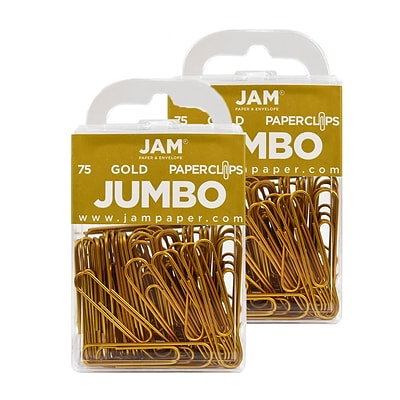 JAM Paper® Colored Jumbo Paper Clips, Large 2 Inch, Gold Paperclips, 2 Packs of 75 (21832060a)