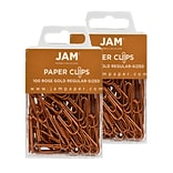 JAM Paper® Colored Standard Paper Clips, Small 1 Inch, Rose Gold Paperclips, 2 Packs of 100 (2183205