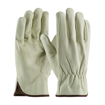 PIP Drivers Gloves, Top Grain Pigskin, Large, Cream Color, 1/Pr