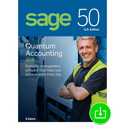 Sage 50 Quantum Accounting 2018 U.S. for 5 Users, Windows, Download (PTQ52018ESDCSRT)