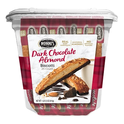 Nonnis Cioccolati Dark Chocolate Almond Biscotti Value Pack, 25 Individually Wrapped Biscotti