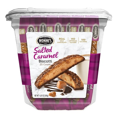 Nonnis Salted Caramel Biscotti Value Pack, 25 Individually Wrapped Biscotti