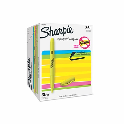 Sharpie Pocket Highlighters, Chisel Tip, Fluorescent Yellow, 36/Pack (2003991)
