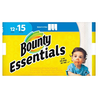 Bounty Essentials Select-A-Size™ Paper Towels, 2-Ply, White, 78 Sheets/Roll, 12 Large Rolls/Pack (75720)