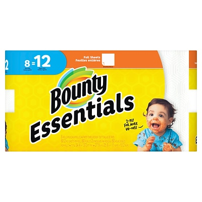 Bounty Essentials Full Sheet Paper Towels, White, 2-Ply, 60 Sheets/Roll, 8 Giant Rolls = 12 Regular Rolls (74680)