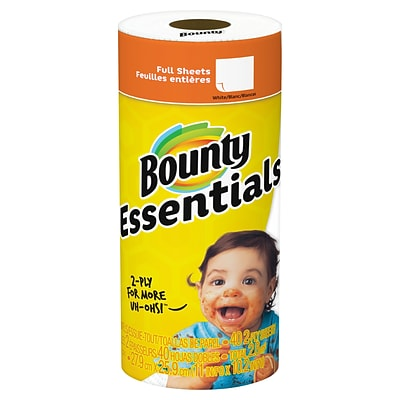 Bounty Essentials Paper Towels, White, 1 Regular Roll, 30/CT