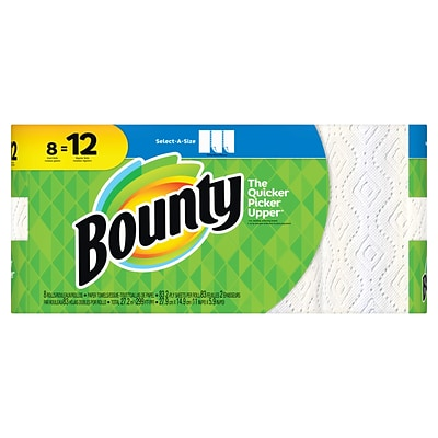 Bounty® Select-A-Size™ Paper Towels, White, 2-Ply, 83 Sheets/Roll, 8 Giant Rolls = 12 Regular Rolls