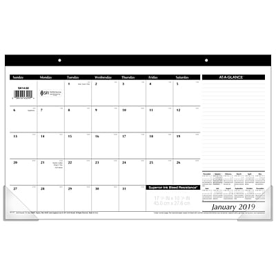AT-A-GLANCE® Compact Desk Pad, 12 Months, January Start, 17 3/4 x 10 7/8, Black and White (SK14-00-19)