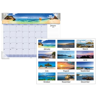 AT-A-GLANCE® Images of the Sea Panoramic Desk Pad, 12 Months, January Start, 22 x 17 (DMD141-32-19)