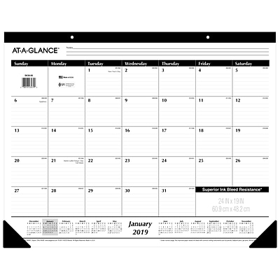 AT-A-GLANCE® Ruled Monthly Desk Pad, 12 Months, January Start, 24 x 19 (SK30-00-19)