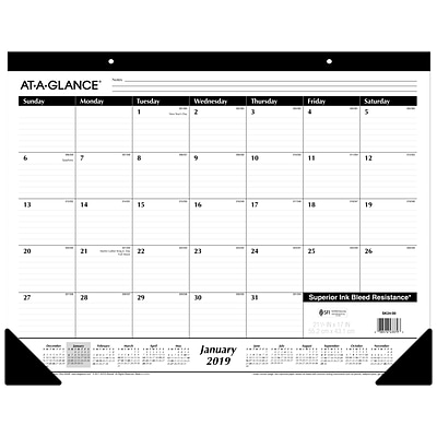 AT-A-GLANCE® Monthly Desk Pad Calendar, Ruled Blocks, 12 Months, January Start, 21 3/4 x 17 (SK24-00-19)