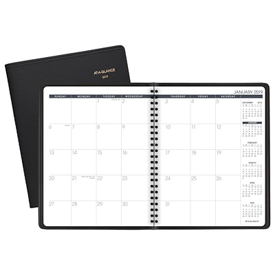 AT-A-GLANCE® Monthly Planner, 12 Months, January Start, 6 7/8 x 8 3/4, Black (70-120-05-19)