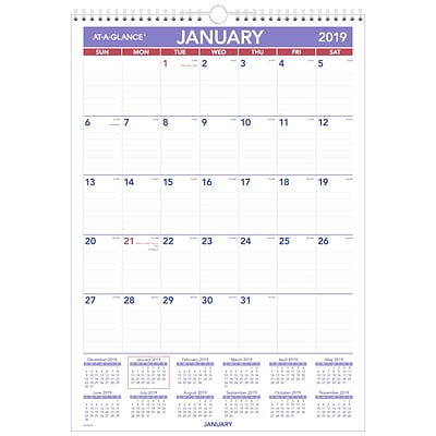 AT-A-GLANCE® Erasable Monthly Wall Calendar, 12 Months, January Start, 12 x 17, Wirebound (PMLM02-28-19)