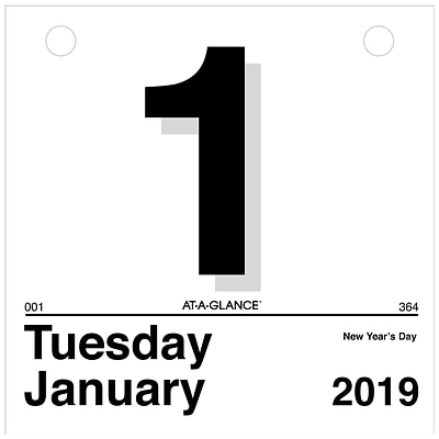 "2019 AT-A-GLANCE® ""Today Is"" Daily Wall Calendar Refill, 12 Months, January Start, 6"" x 6"" (K1-50-19)"
