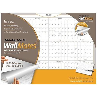 2019 AT-A-GLANCE® WallMates® Self-Adhesive Dry-Erase Yearly Calendar, 12 Months,  January Start, 24 x 18 (AW5060-28-19)