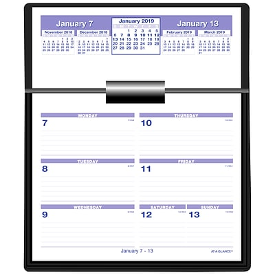 2019 AT-A-GLANCE® Flip-A-Week Desk Calendar and Base, Complete Set, 5 5/8 x 7 Pages included (SW700X-00-19)