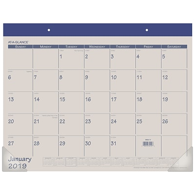 2019 AT-A-GLANCE® Fashion Color Monthly Desk Pad, 12 Months, January Start, 21 3/4 x 17, Blue (SK25-17-19)