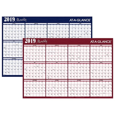 2019 AT-A-GLANCE® Horizontal Erasable Yearly Wall Planner, Reversible, 12 Months, January Start, 48 x 32, Red/Blue (A152-19)