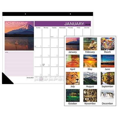 2019 AT-A-GLANCE® Successories Motivational Monthly DeskPad, 12 Month, January Start, 22 x 17, Vibrant Images (SKW800-00-19)