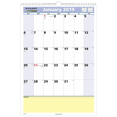 2019 AT-A-GLANCE® QuickNotes® Monthly Wall Calendar, 13 Months, January Start, 15 1/2 x 22 3/4, Wirebound (PM54-28-19)
