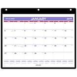 2019 AT-A-GLANCE® Monthly Desk/Wall Calendar with Cover and Holder, January Start, 11x 8 1/4, Thre