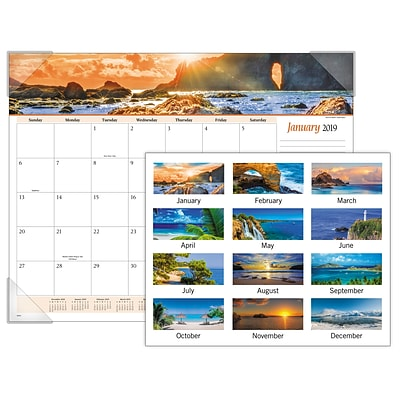 2019 AT-A-GLANCE® Seascape Panoramic Monthly Desk Pad, 12 Months, January Start, 22 x 17 (89803-19)