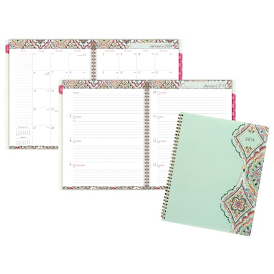 "2019 Cambridge® Marrakesh Weekly/Monthly Planner, 12 Months, January Start, 8 1/2"" x 11"", Light Green (182-905-19)"