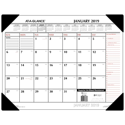2019 AT-A-GLANCE® Two-Color Monthly Desk Pad, 12 Months, January Start, 21 3/4 x 17, Red and Black (SK1170-00-19)