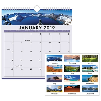 2019 AT-A-GLANCE® Landscape Monthly Wall Calendar, 12 Months, January Start, 12 x 12, Wirebound (88200-19)