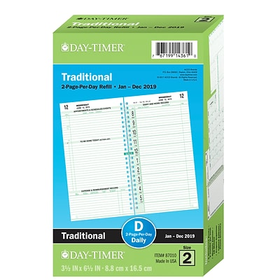 2019 Day-Timer® Classic Two Page Per Day Refill, 12 Months, January Start, Pocket Size, 3 1/2 x 6 1/2 (87010-1901)