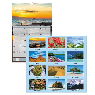 2019 AT-A-GLANCE® Scenic Wall Calendar, 12 Months, January Start, 15 1/2 x 22 3/4, Multicolor (DMW201-28-19)