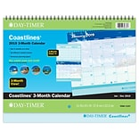 2019 Day-Timer® Coastlines® Three Month Wall Calendar, 12 Months January Start, 8-5/8 x 11, Wirebo