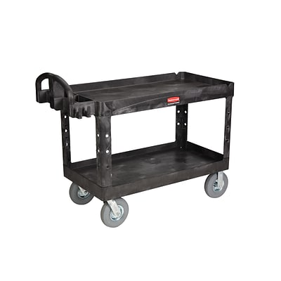 Rubbermaid Heavy-Duty 2-Shelf Plastic Utility Cart, Black (FG454600BLA)