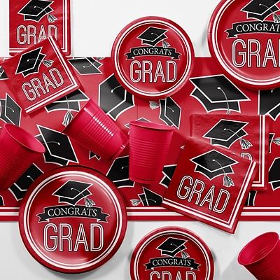 Creative Converting Graduation School Spirit Red Party Supplies Kit (DTCCLRED2A)
