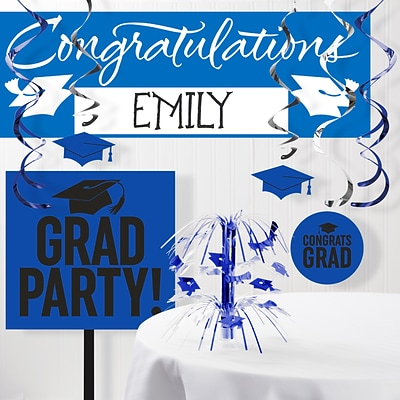 Creative Converting Graduation School Spirit Blue Decorations Kit (DTCCOBLT1B)