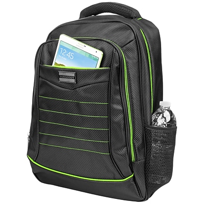 Vangoddy Business School Casual Backpack Computer Bag fits up to 15.6 Inch Laptop and Notebook, Black-Green (PT_BPKLEA001)