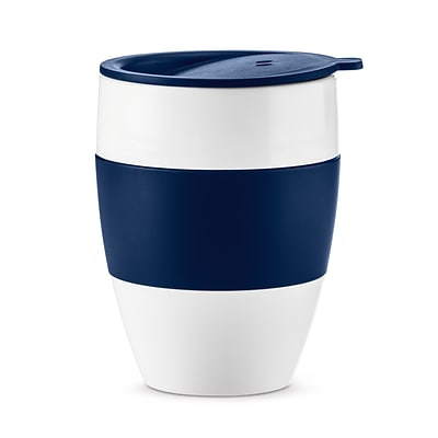 Koziol White with Deep Velvet Blue AROMA TO GO 2.0 Insulated Cup with Lid, 13.5 oz (3589408)