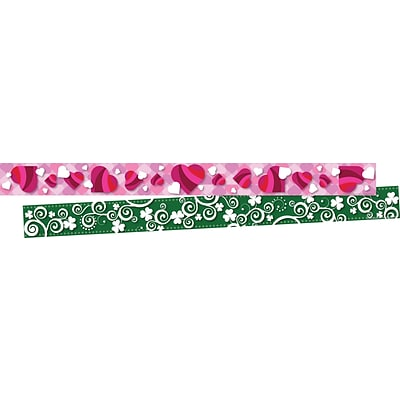 Barker Creek Hearts and Clover Double-Sided Border 2-Pack, 70 Feet/Set (BC3682)