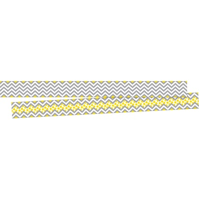 Barker Creek Chevron Gray & Yellow Double-Sided Border 2-Pack, 70 Feet/Set (BC3691)