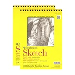 Strathmore 300 Series Sketch Pad, 9 in. x 12 in., Wire Bound, 100 Sheets, Pack of 2, (26777-PK2)
