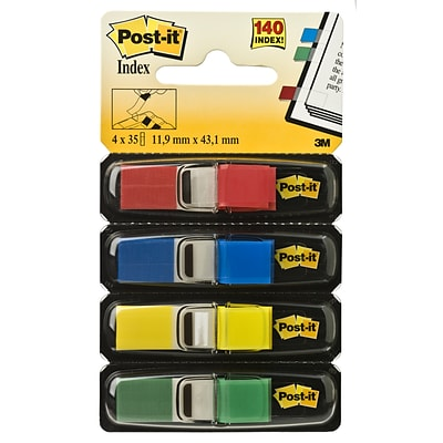 Post-it® Flags, .47 Wide, Assorted Colors, 140 Flags/Pack (683-4)