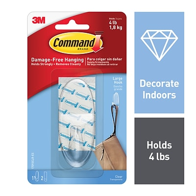 Command™ Large Clear Hook with Clear Strips, 1/Pack