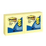 Post-it® Pop-up Notes, 3 x 3 Canary Yellow, 100 Sheets/Pad, 12 Pads/Pack (R330-YW)