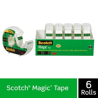 Scotch® Magic Tape w/Refillable Dispenser, Invisible, Write On, Matte Finish, 3/4 x 18.05 yds., 1 Core, 6 Rolls (6122)