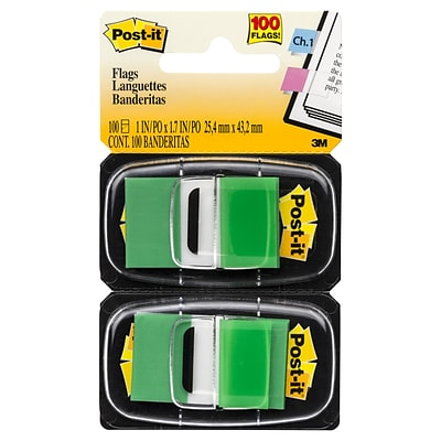 Post-it® Flags, 1 Wide, Green, 100 Flags/Pack (680-GN2)