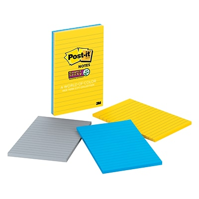 Post-it® Super Sticky Notes, 4 x 6 New York Collection, Lined, 100 Sheets/Pad, 3 Pads/Pack (660-3SSNY)
