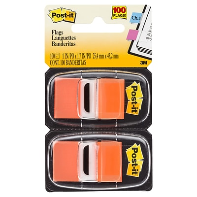Post-it® Flags, 1 Wide, Orange, 100 Flags/Pack (680-0E2)