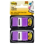 Post-it® Flags, 1 Wide, Purple, 100 Flags/Pack (680-PE)